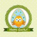 Tarjeta de felicitación de Pascua de la plantilla, polluelo, vector Imagenes de archivo