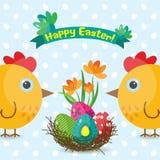 Tarjeta de felicitación de Pascua de la plantilla, polluelo, vector Foto de archivo libre de regalías