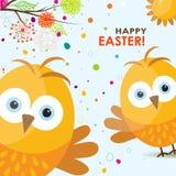 Tarjeta de felicitación de Pascua de la plantilla, polluelo, vector Fotografía de archivo libre de regalías
