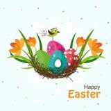 Tarjeta de felicitación de Pascua del modelo, vector Fotos de archivo