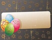 Tarjeta de felicitación de Pascua Grunge con los huevos Foto de archivo libre de regalías