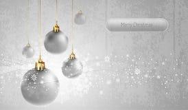Tarjeta de felicitación de plata con los globos de la Navidad Imágenes de archivo libres de regalías