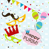 Tarjeta de felicitación de Purim de la plantilla, vector Fotografía de archivo libre de regalías