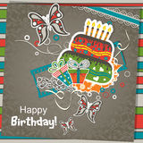 Tarjeta de felicitación del cumpleaños del modelo, vector Fotos de archivo