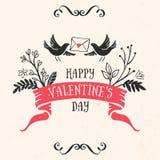 Tarjeta de felicitación del día de tarjeta del día de San Valentín con las letras, cinta, pájaros Imagen de archivo libre de regalías