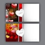 Tarjeta de felicitación del día de tarjeta del día de San Valentín con los corazones y la cinta roja. EPS 10 Foto de archivo libre de regalías