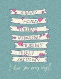 Tarjeta de felicitación del día de tarjetas del día de San Valentín en estilo del inconformista del vintage Foto de archivo libre de regalías