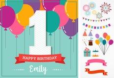 Tarjeta de felicitación del feliz cumpleaños con los elementos del partido Imagenes de archivo