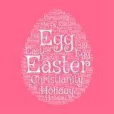 Tarjeta de felicitación del huevo de Pascua con la nube de la palabra Fotografía de archivo libre de regalías