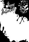 Tarjeta de felicitación del vampiro de Halloween Foto de archivo
