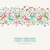 Tarjeta de felicitación del vintage de la Feliz Navidad y de la Feliz Año Nuevo Fotografía de archivo