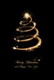 Tarjeta de felicitación elegante del árbol de navidad del brillo del oro Fotos de archivo libres de regalías