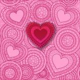 Tarjeta de felicitación feliz de las letras del día de la tarjeta del día de San Valentín encendido Fotos de archivo