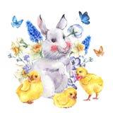 Tarjeta de felicitación feliz de Pascua del vintage con el conejito y los pollos Foto de archivo libre de regalías