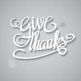 Tarjeta de felicitación feliz del día de la acción de gracias con las letras de la mano Imagen de archivo libre de regalías