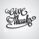 Tarjeta de felicitación feliz del día de la acción de gracias con las letras de la mano Foto de archivo