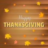 Tarjeta de felicitación feliz del día de la acción de gracias, texto de las letras con las hojas de arce amarillas que caen en fo Imágenes de archivo libres de regalías