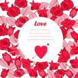 Tarjeta de felicitación, flores historieta estilo del garabato, imagen preciosa para el día de tarjetas del día de San Valentín,  Imagenes de archivo