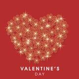 Tarjeta de felicitación hermosa para la celebración del día de tarjeta del día de San Valentín Fotos de archivo