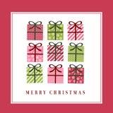 Tarjeta de felicitación linda de la Navidad Fotos de archivo