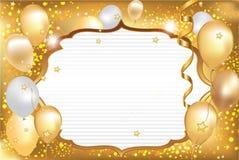 Tarjeta de felicitación marrón clara de la celebración con los globos Imagen de archivo libre de regalías