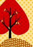 Tarjeta de felicitación otoñal del árbol del corazón Imagen de archivo libre de regalías