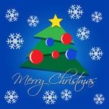 Tarjeta de felicitación - árbol verde de la Navidad con los copos de nieve Fotografía de archivo libre de regalías