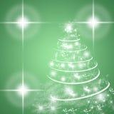 Tarjeta de felicitación verde de las vacaciones de invierno con el árbol de navidad Imágenes de archivo libres de regalías