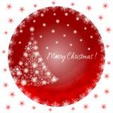Tarjeta de felicitaciones, árbol de navidad de los copos de nieve blancos en un fondo rojo en un marco redondo Foto de archivo libre de regalías
