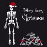 Tarjeta de felicitaciones asustadiza esquelética de la Navidad de Santa Claus eps10 Imagen de archivo