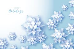Tarjeta de felicitaciones azul de la Feliz Navidad Escama de la nieve del corte del Libro Blanco Decoración de la Feliz Año Nuevo stock de ilustración