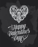 Tarjeta de felicitaciones de la bandera del día de tarjetas del día de San Valentín de la pizarra Fotografía de archivo