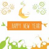 Tarjeta de felicitaciones de la Feliz Año Nuevo Imagen de archivo libre de regalías