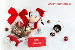 Tarjeta de felicitaciones de la Navidad con el cuadro de texto Foto de archivo