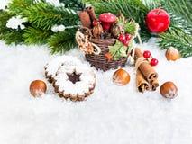 Tarjeta de felicitaciones de la Navidad con el cuadro de texto Fotografía de archivo
