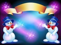 Tarjeta de felicitaciones de la Navidad con Snowmans Foto de archivo
