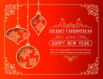 Tarjeta de felicitaciones de la Navidad del vector Foto de archivo libre de regalías