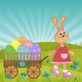 Tarjeta de felicitaciones de Pascua con el conejo Foto de archivo libre de regalías