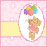 Tarjeta de felicitaciones del bebé con el gato y los globos Fotos de archivo