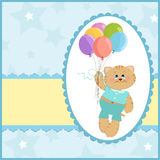 Tarjeta de felicitaciones del bebé con el gato y los globos Imagenes de archivo
