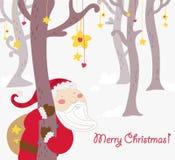 Tarjeta de felicitaciones divertida de la Navidad de Papá Noel stock de ilustración