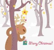 Tarjeta de felicitaciones divertida de la Navidad del reideer Fotografía de archivo libre de regalías