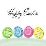 Tarjeta de felicitaciones feliz de Pascua con el cepillo de la acuarela Foto de archivo