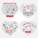 Tarjeta de felicitaciones feliz del día de tarjeta del día de San Valentín, etiquetas, insignias, símbolos, i Imagen de archivo