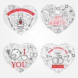 Tarjeta de felicitaciones feliz del día de tarjeta del día de San Valentín, etiquetas, insignias, símbolos, i Imagenes de archivo