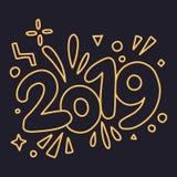 Tarjeta de felicitaciones de la FELIZ AÑO NUEVO 2019 Ilustración colorida libre illustration