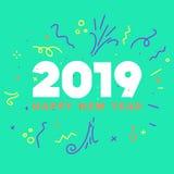Tarjeta de felicitaciones de la FELIZ AÑO NUEVO 2019 Ilustración colorida stock de ilustración
