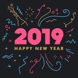Tarjeta de felicitaciones de la FELIZ AÑO NUEVO 2019 Ilustración colorida ilustración del vector