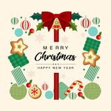 Tarjeta de felicitaciones de la Navidad foto de archivo