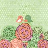 Tarjeta de felicitaciones linda con los pájaros en un oscilación Imagenes de archivo